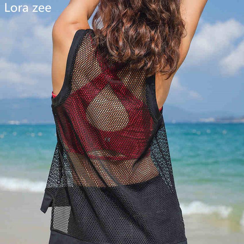 LORA ZEE Women's Sleeveless Workout T shirt Mesh Yoga Top ...