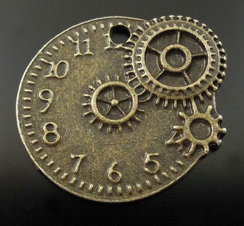 60 pcs Antique Bronze Tone Vintage Alloy Mechanical Gear Clock Pendant Charm 22x20mm (3054)