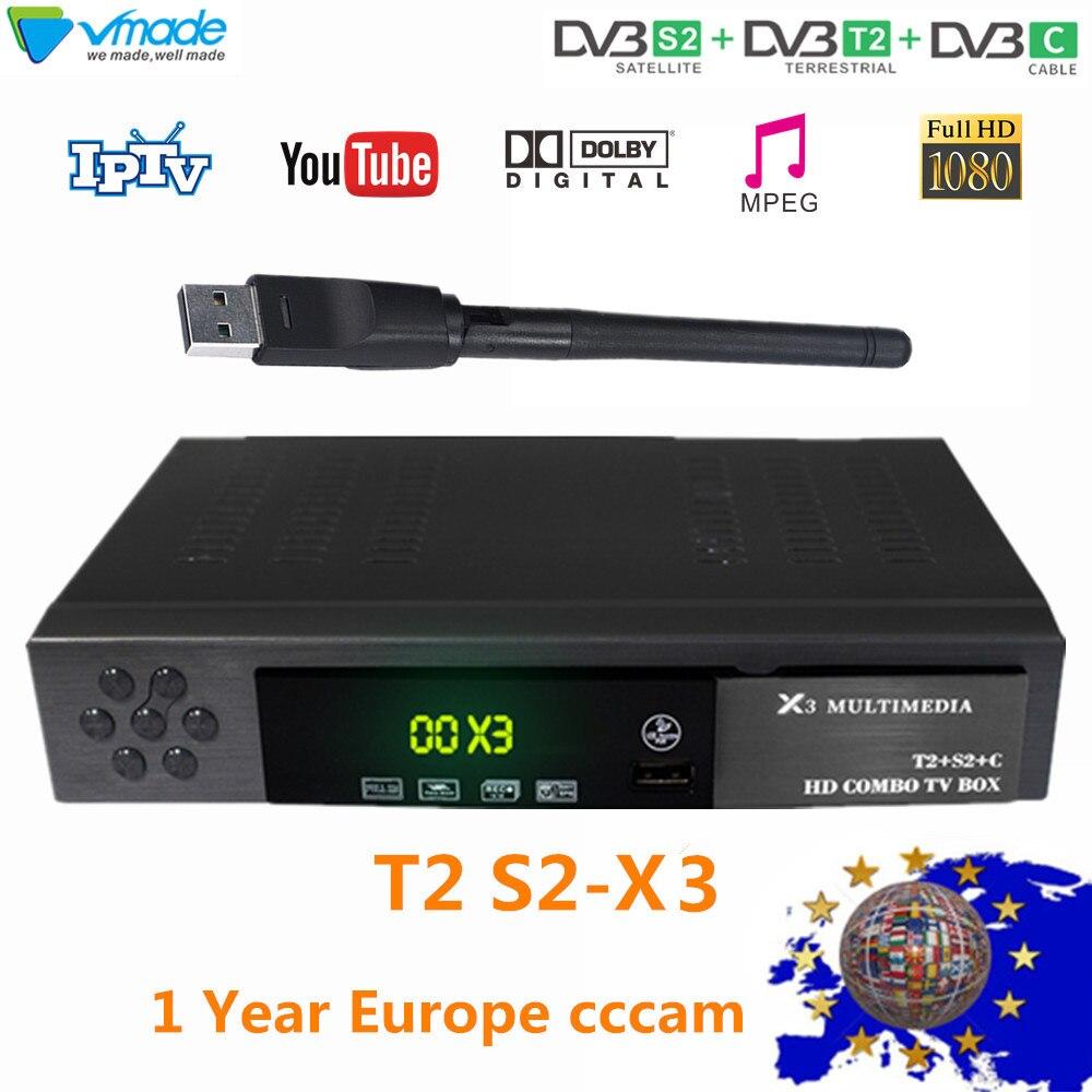 Le plus nouveau récepteur de télévision par Satellite terrestre numérique de DVB-T2 DVB-S2 combiné DVB T2 + S2 X3 prend en charge la boîte de télévision youtube avec WIFI + CCCAM