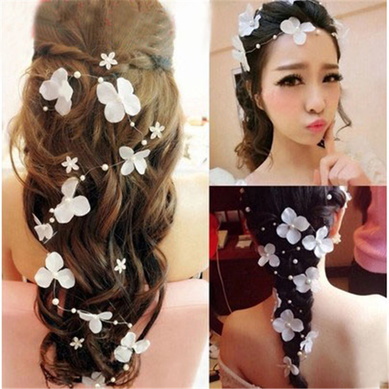 Flower bride hairddress jewelry weddding decoration handmade pearls wedding dress acesso ...