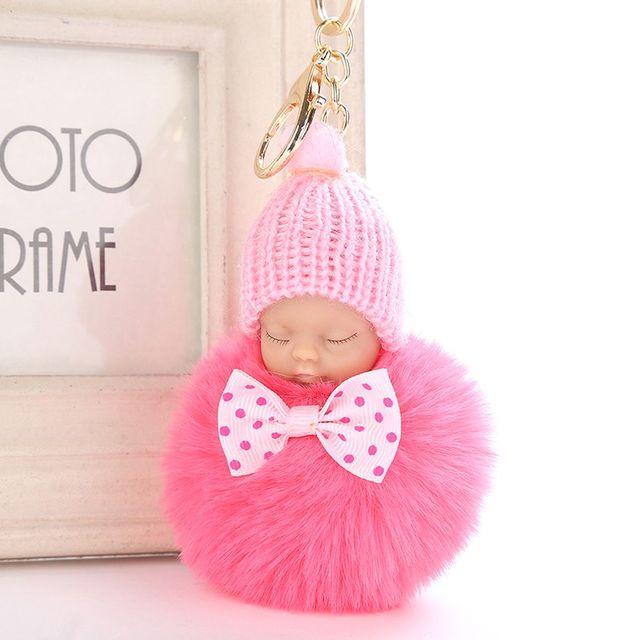 1 Pcs Bonito Fofo Bebê Dormindo Boneca Chaveiro Pompom Faux Pele De Coelho Chapéu Feito Malha Sacos Chaveiro Carro Pingente Anel Chave Chaveiros