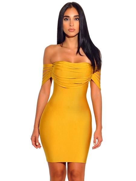 DEIVE TEGER  New Arrival Slash Neck Women Evening Party Off the Shoulder Mini Bandage Short  Bodycon Dress  HL2737D