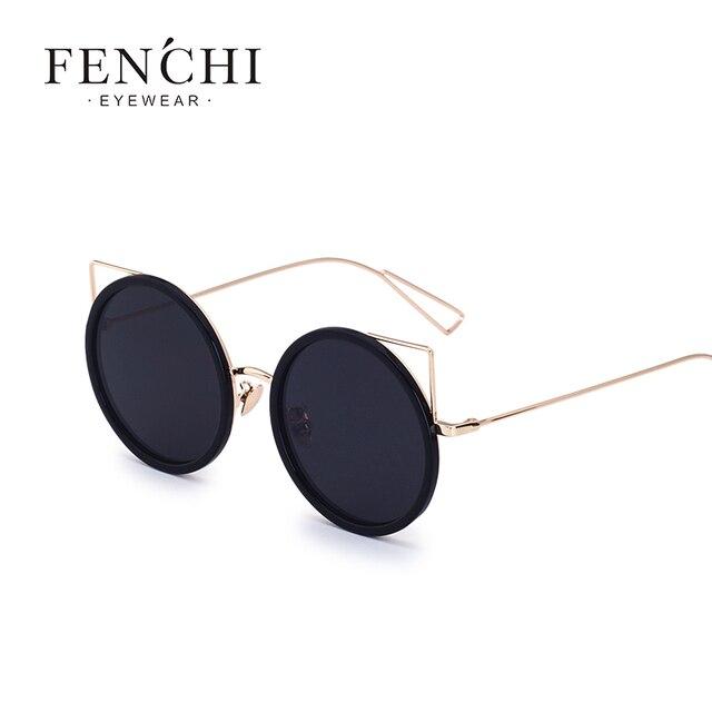e19ece7977 FENCHI Cat ear Frameless Round Sunglasses Women Brand Metal Coating Mirror  cat eye glasses UV400 driveing