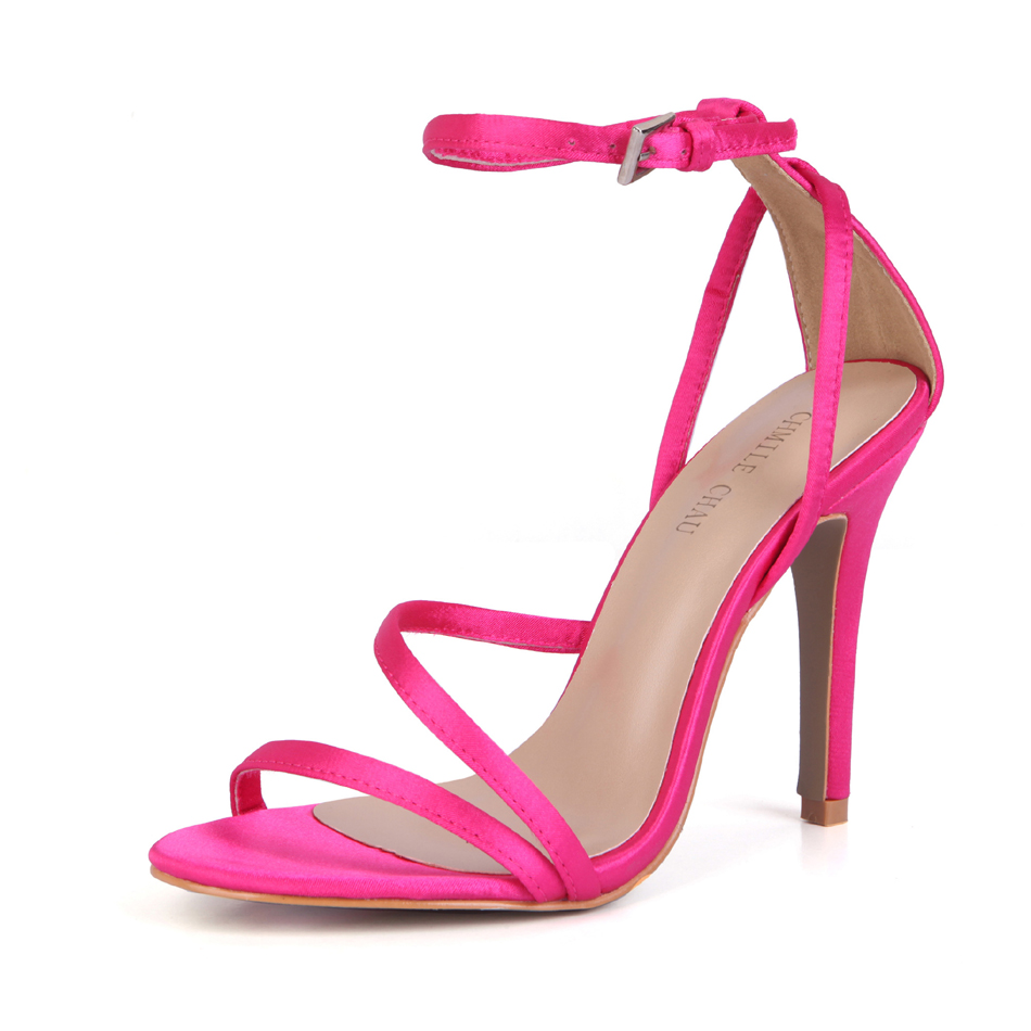 CHMILE CHAU Bridal Wedding Sandal Women Stiletto High Heel Sandales Femmes Mariage Bride de Cheville Talon Haut Aiguille 5186 9r in High Heels from Shoes