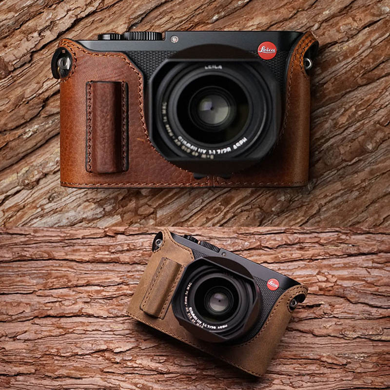 Mr.Stone Handmade Genuine Leather Camera case Video Half Bag For Leica Q type 116 Retro Vintage Bottom Case цена