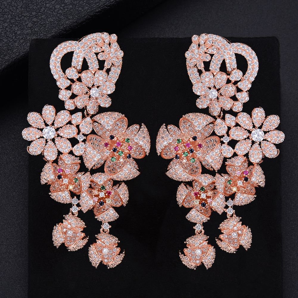 GODK 73mm Luxury Windmill Flower Blossom Cluster Cubic Zirconia Long Drop Earring For Women Wedding Party