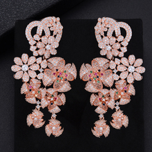 GODK 73mm Luxury Windmill Flower Blossom Cluster Cubic Zirconia Long Drop Earring For Women Wedding Party Bridal Fringed Jewelry