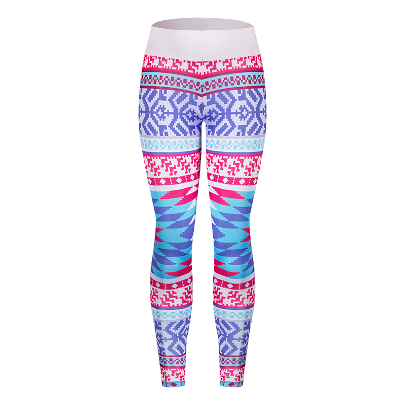TUNSECHY Brands Women Fashion Legging Aztec Round Ombre Printing leggins Slim High Waist Leggings Woman Pants