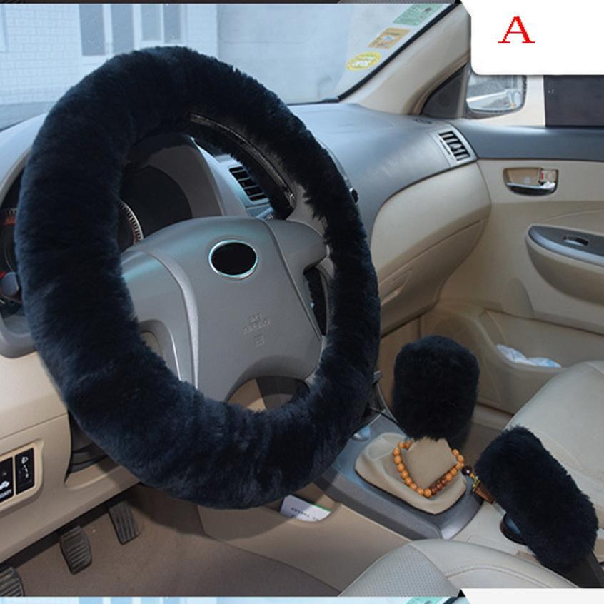 Kongyide Plush Warm Steering Wheel Cover Woolen Handbrake Car Accessory