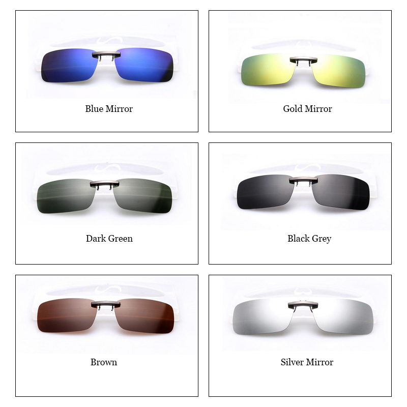 b4fb3d34111 2017 Clips Polarized Mirrored Clip On Sunglasses Men Rectangle Mirror UV400  Clip On Sunglasses Polarized Men Driver s Glasses-in Sunglasses from Apparel  ...