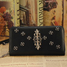 First Layer Of Cowhide Vintage Rivet Wallets Zipper Genuine Leather Long Design Lovers Men Women Wallets