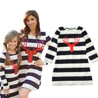 NewFashion Mom Kids Couple Look Stripe Patchwork Dress Family Matching Outfit Clothes Dress Mother Daughter Match