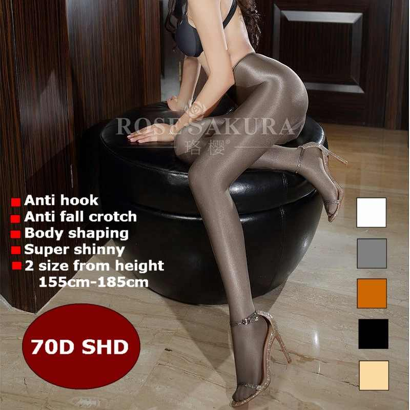 70D Women sexy oil Shiny solid tights T crotch plus size sparkle pantyhose female black Glossy Stockings hose Dance Fitness