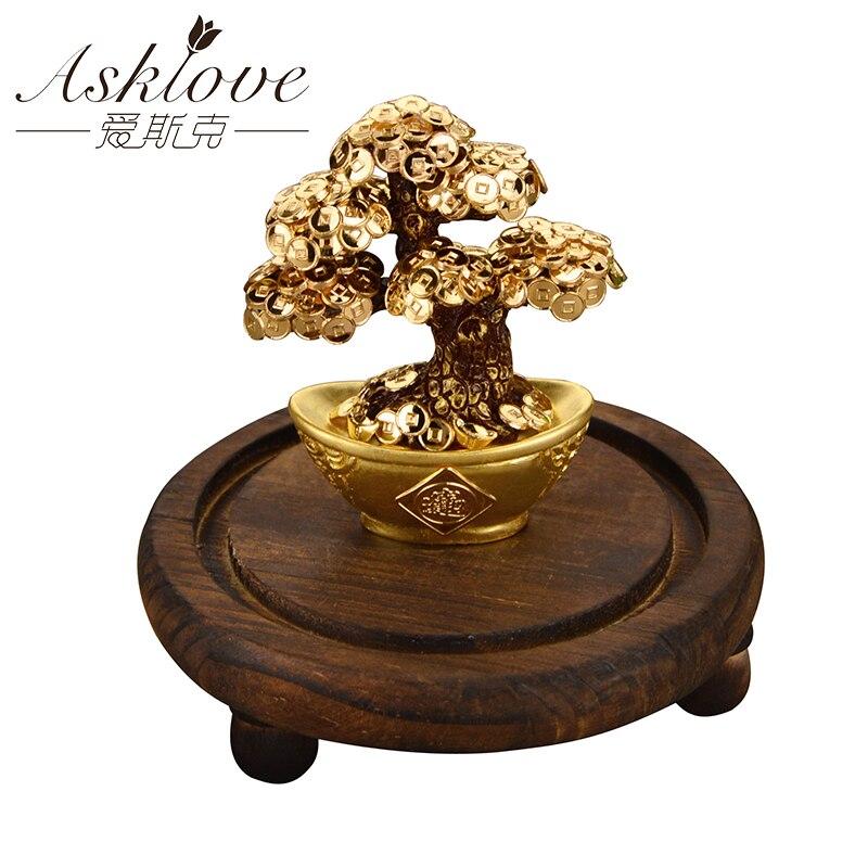 Feng Shui Fortune arbre feuille d'or argent arbre bonsaï bureau table chanceux richesse ornements cadeaux décoration de la maison avec boîte à cadeaux