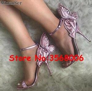 Image 3 - Venta al por mayor, increíbles Sandalias de tacón delgado con punta abierta de mariposa 3D multicolor, zapatos de novia para fiesta de casamiento, sexy, tacones de aguja envolventes al tobillo