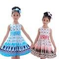 Hot Crianças Meninas Do Bebê Da Princesa Roupas de Bebê Vestido Sem Mangas Vestido de Partido Das Crianças Arco Vestidos de Casamento Do Pavão