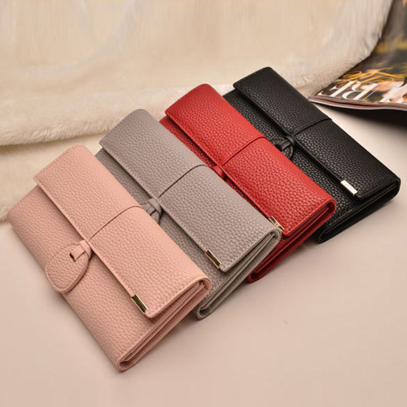 Simple Fashion Women Long Purse Solid Color PU Leather Vintage Clutch Bag Card Holder Bags Ladies Girls Wallet BS88 Кошелёк