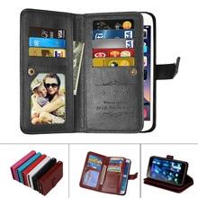 PU Leather Magnetic Durable 9 Cards Slots Flip Wallet Case For Huawei P8 P9 P10 P20 Lite Plus P8Lite P9Lite P10Lite Fundas Cover