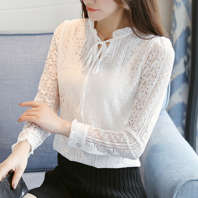 245f082b45e Korean style women blouses Fashion Ruffles neck long Sleeve lace white  blouse shirts women plus size office blusas plus size