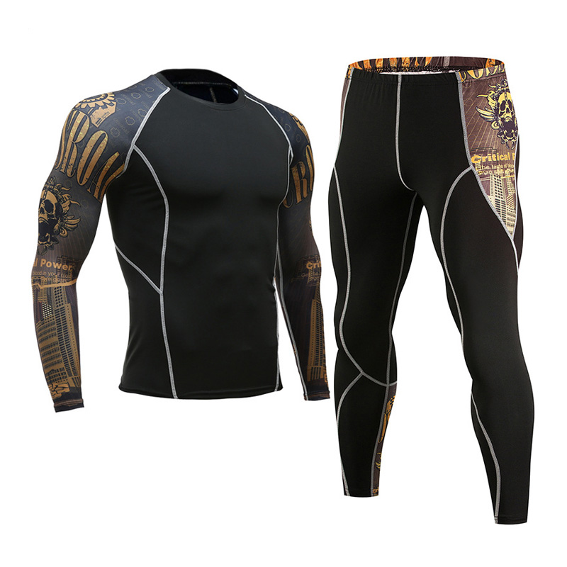 men s thermal underwear suit MMA Clothing tactical base layer rashgard kit compression  clothing Brands long sleeve tights 6a98296e5297