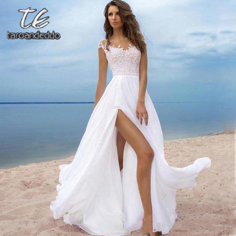 Cap Sleeves Front Slit Wedding Dresses Scoop Neckline A Line Sleeveless Illusion Back Sweep Train Bridal Gown Vestido De Novia