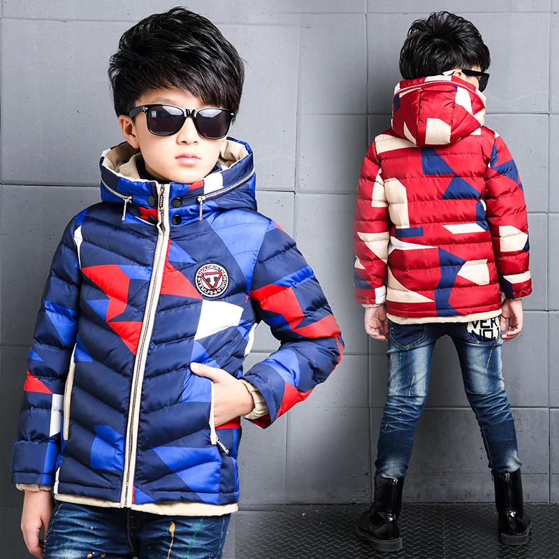 children Down & Parkas 2-14T winter kids outerwear boys casual warm hooded jacket for boys solid boys warm coats 2 14t baby boy clothes boys jacket leather spring letter boys outwear for children kids coats for boys baseball sweatershirt