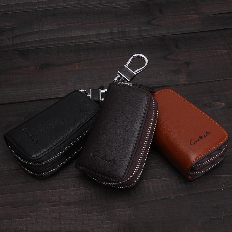 CONTACT'S Genuine Leather Car Key Wallets Fashion Key Holder Housekeeper Keys Organizer Double Zipper Keychain Case Key Pouch 5