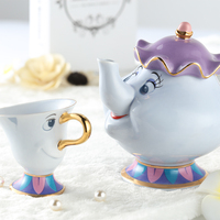 Limited Edition Cartoon Beauty And The Beast Teapot Mug Mrs Potts Chip Tea Pot And Cup