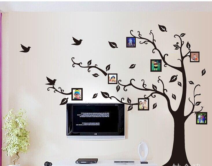 2pcs/set large size photo frame tree wall art stickers removable