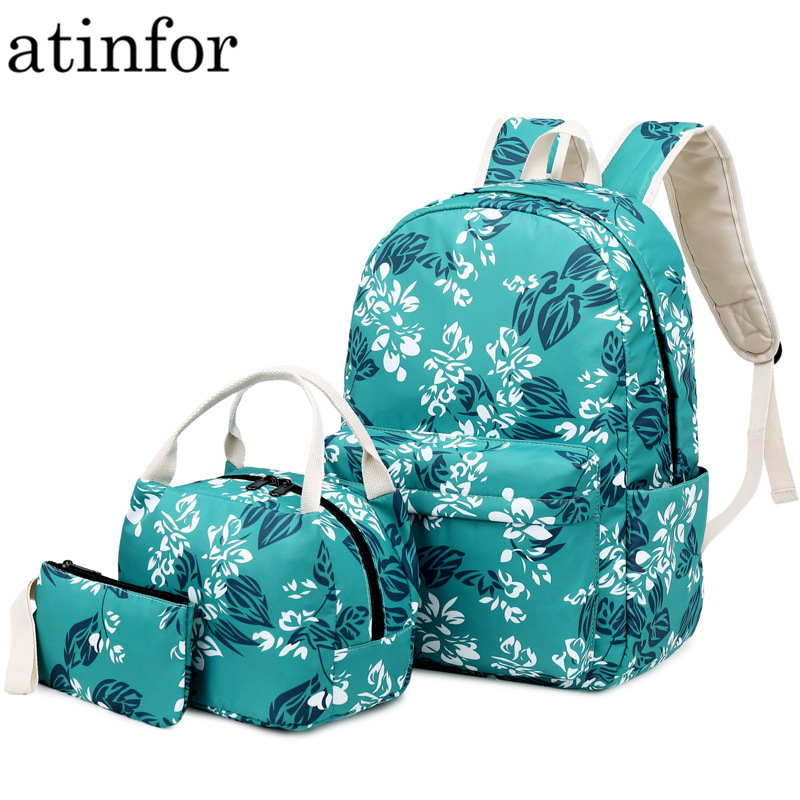 Atinfor Brand Bag Set Nylon Backpack Women Waterproof Printing Backpack National Middle School Student Bag With Lunch Box 2019