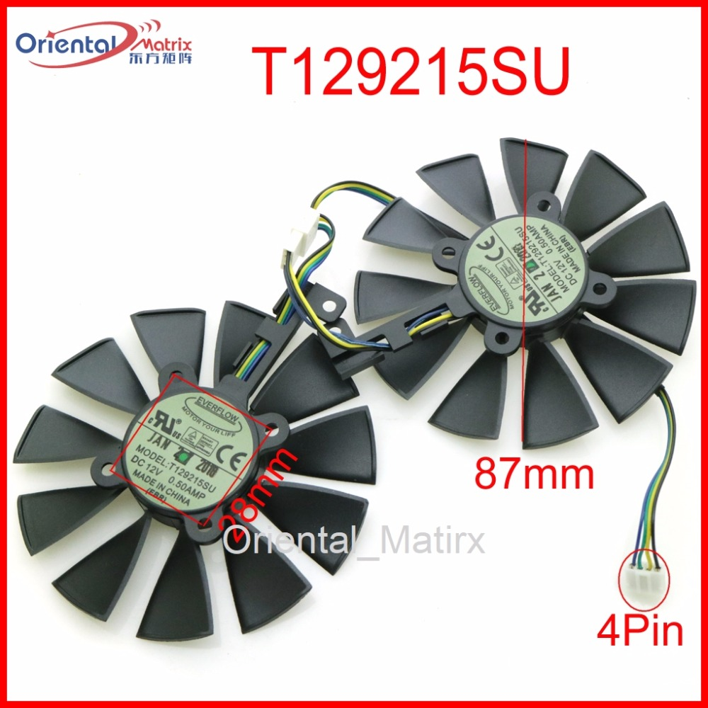 Free Shipping T129215SU 12V 0.5A 87mm VGA Fan For ASUS GTX1060 GTX1070 RX480 RX570 Graphics Card Cooling Fan free shipping 2pcs lot 86mm vga fan 4pin for galaxy gtx950 960 gtx1060 graphics card cooler cooling fan