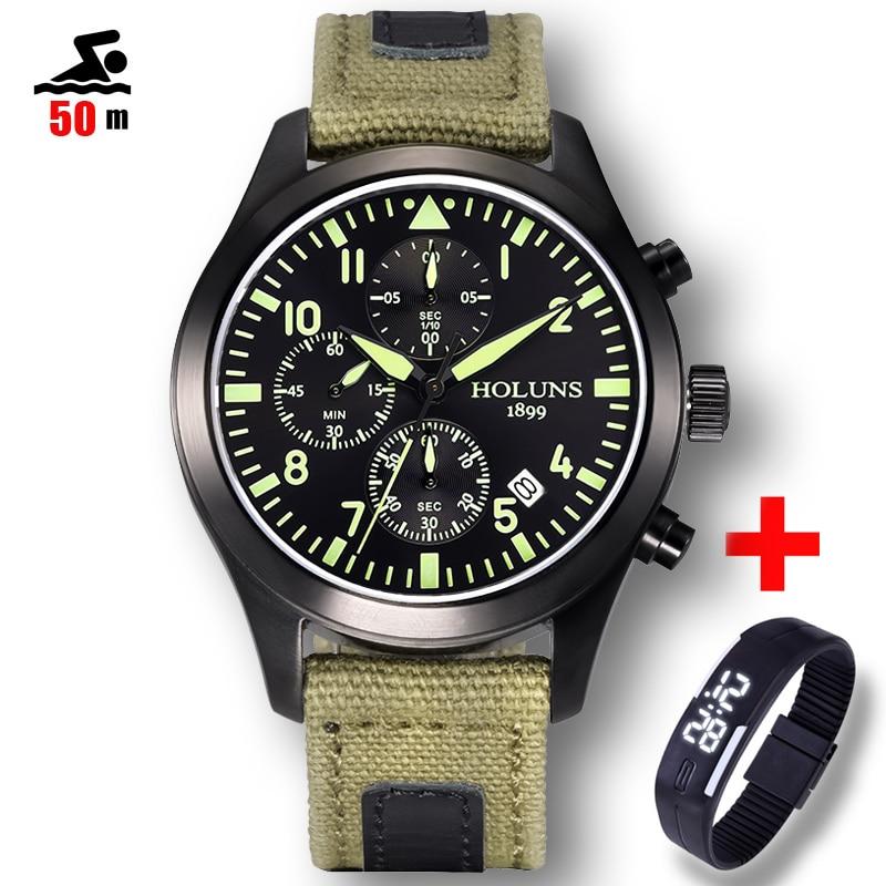 50 м Плавание Спортивные часы Для мужчин Элитный бренд Военная Униформа Для мужчин Часы часы Мужские кварцевые часы Relogio Masculino horloges mannen Saat