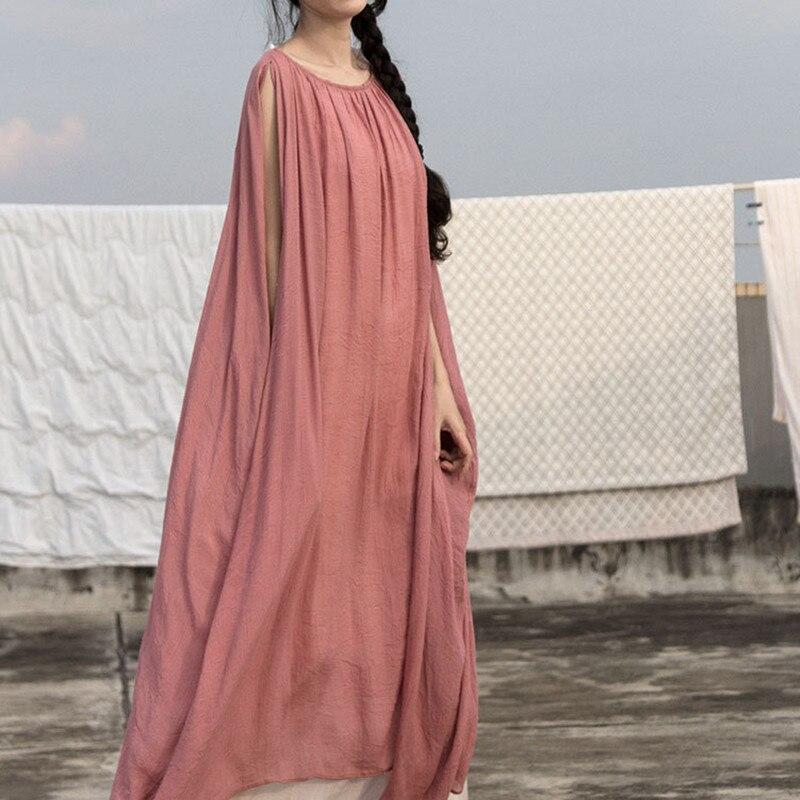 Nouveau femmes Vintage Maxi 5XL longue Robe 2019 été Original Robe femme O cou solide décontracté lâche linge Vestidos caftan grande taille
