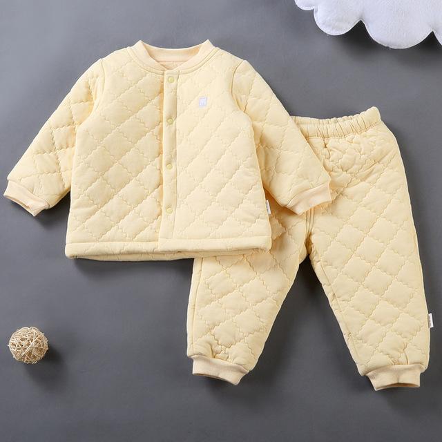 Lo nuevo Traje de Invierno Bebé Mono Infantil Del Niño Ropa de Algodón acolchado Cálido conjunto de Manga Larga chaqueta de Punto y La apertura de La Entrepierna Pantalones