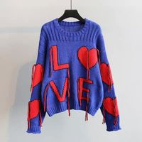 MUMUZI Knitting Sweater Women 2018 Winter Autumn Fashion Pullovers LOVE red heart Sweater female Loose O Neck jumper Femme