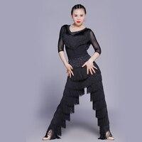 Sexy Latin Dance Suit For Ladies Blue Red Black Original Tassel Shirt Women Perform Tops Professional Flamenco Garments DW1054