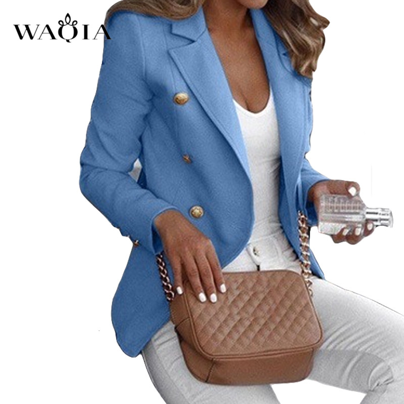 Plus Size 5XL Women Work Blazers For Office Casual Elegant Slim Suit Long Sleeve Coats And Jackets Outerwear Double Breasted
