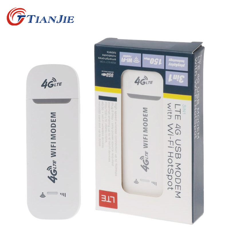 TIANJIE 4G LTE USB Wifi Modem 3g 4g Usb Dongle Car Wifi Router 4g Lte Dongle Network Adaptor With Sim Card Slot