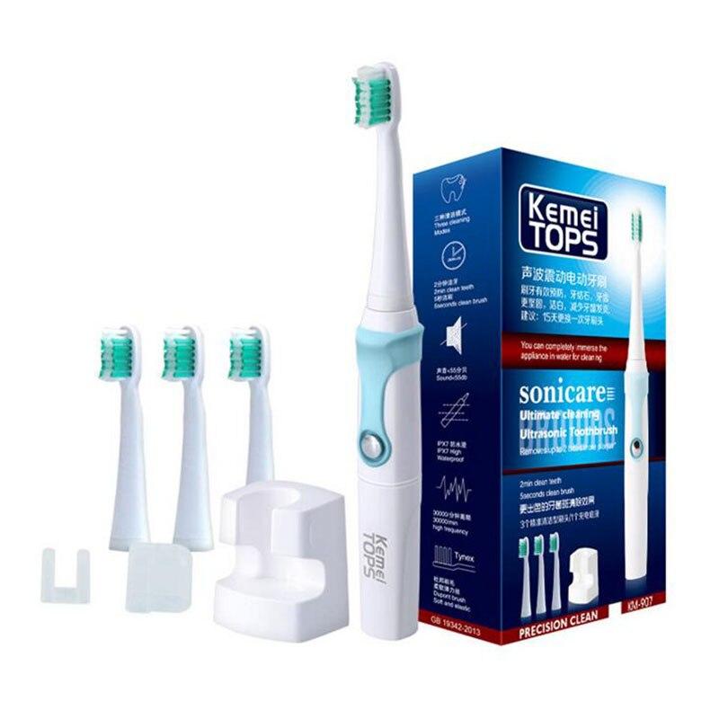 ФОТО KM-907 Electric Toothbrush Ultrasonic Sonic Rotary Electric Replacement Heads 30000/min Professional Teeth Brush electric tooth