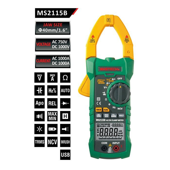 MASTECH MS2115B DIGITAL CLAMP METER DC/AC Voltage Current Resistance Capacitance Tester