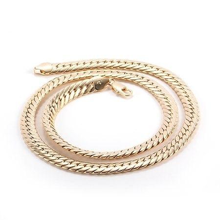 9f48569180d9 Pesado 79G hermosos hombres 14 K amarillo sólido oro acabado serpiente  collar cadena 60 cm