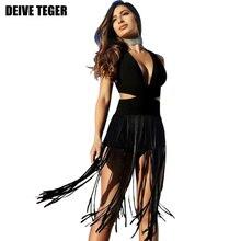 DEIVE Teger без рукавов Лето кисточкой Для женщин пикантные элегантные модные Открытое платье повязки партии одноцветное Vestidoes платья hl2514