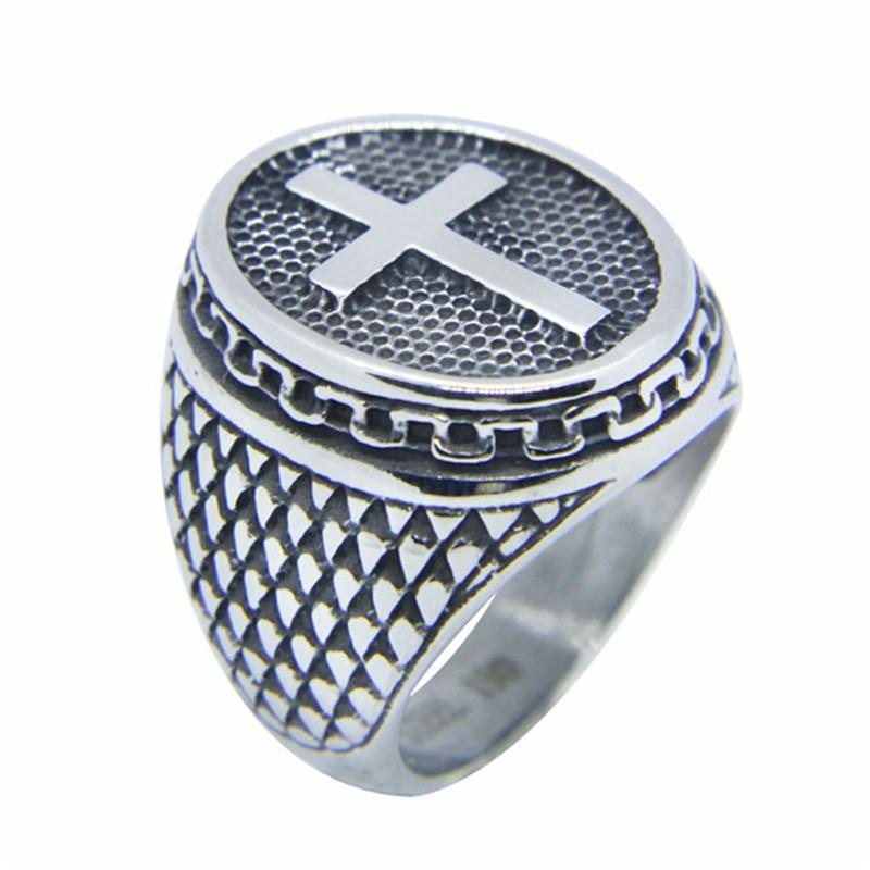 Rany & Roy Neues Design Größe 7-13 Kreuz Ring 316L Edelstahl Schmuck Hiphop Stil Biker Jesus Kreuz Ring