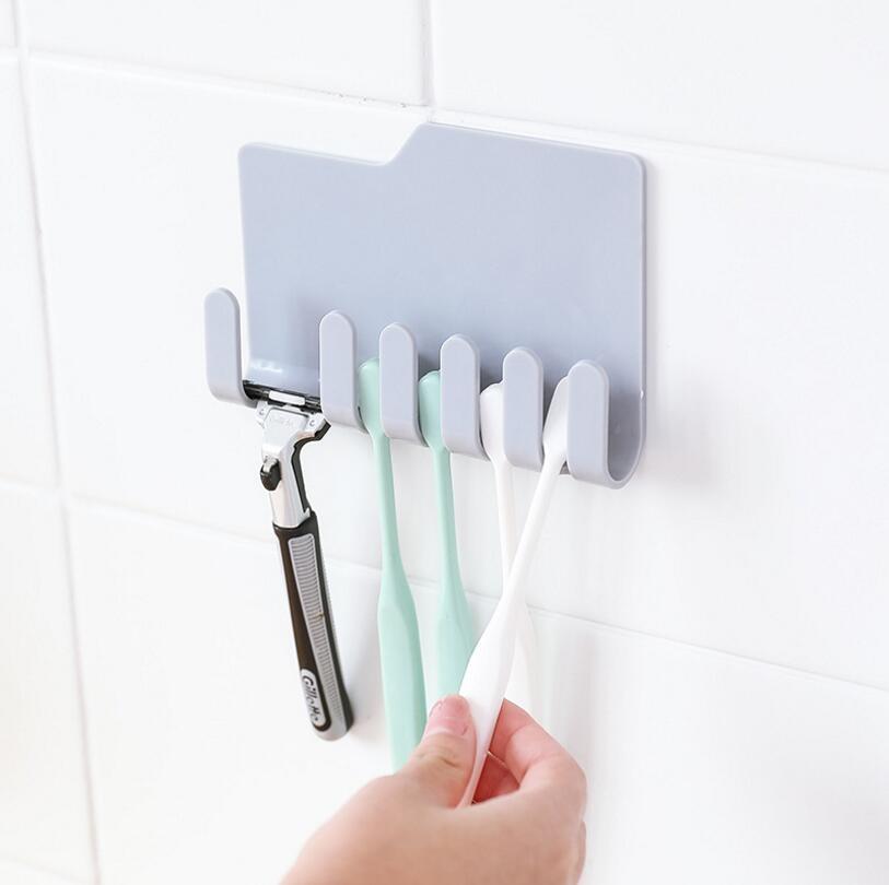 1pcs Wall-mounted Toothbrush Holder Razor Holder Multi-Function Storage Rack Umbrella Key Hook Kitchen Bathroom Storage Rack