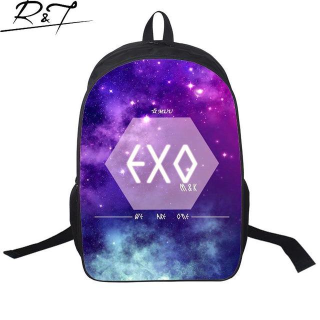 Мода 2016 Корейский Star скайленд EXO рюкзаки рюкзаки школьные сумки для подростков мужчина туризм рюкзак Mochila