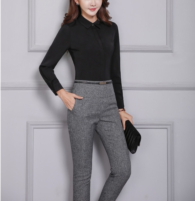 9933bef732449 Novelty Grey Slim Fashion Formal Pants For Business Women Spring Autumn  Trendy Skinny Leggings Pants Trousers Capris Plus Size