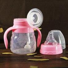 150ml Cute Baby Bottle Infant Newborn Cup Children Learn Feeding Drinking Handle Bottle Kids Straw Juice Water Bottles