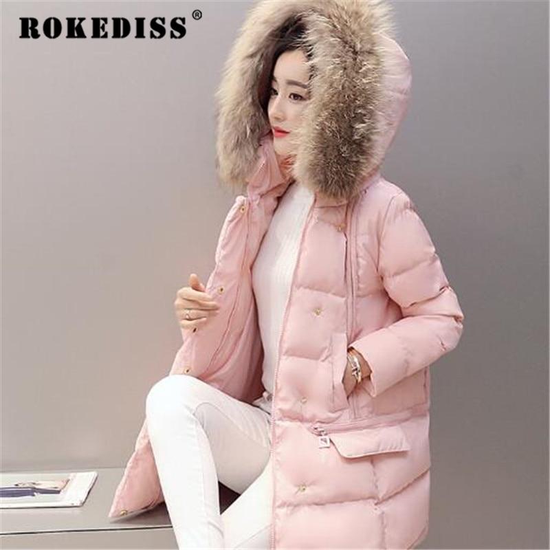 Parka Winter Coat Women Cotton Winter Jacket Real Fur Parkas Thick Overcoat Fashion Jackets Women Warm Parka TG097