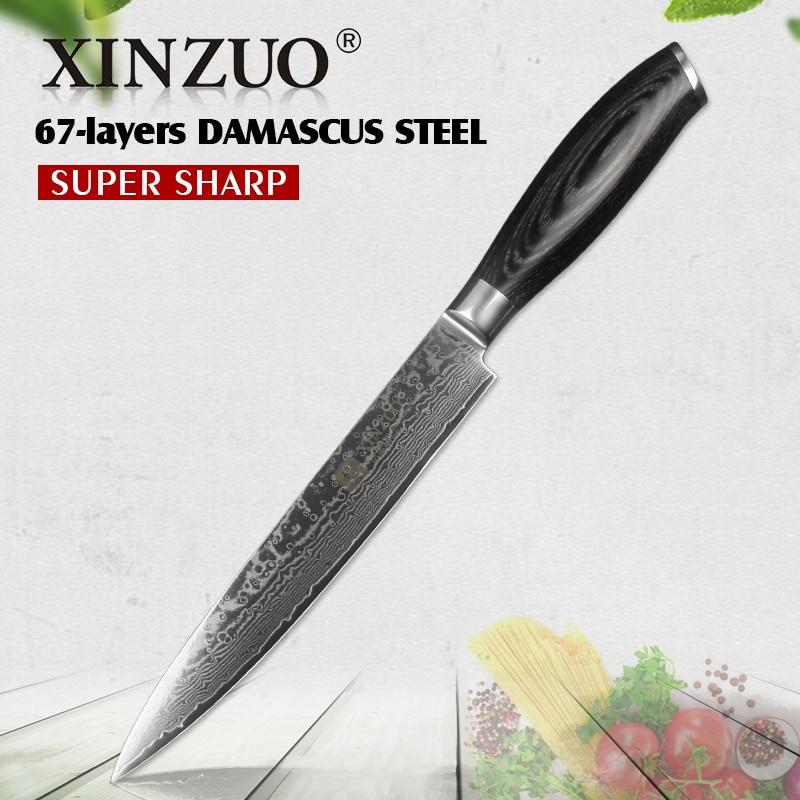 """XINZUO 8 """"tasak nóż chiński damaszek nóż kuchenny ze stali nierdzewnej wielu narzędzia do gotowania mięsa Sashimi noże Pakka drewna uchwyt w Noże kuchenne od Dom i ogród na  Grupa 1"""