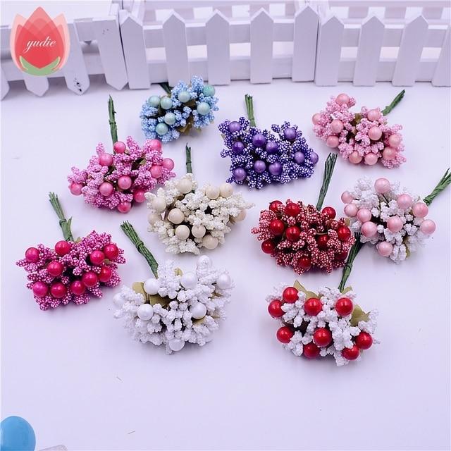 10 stks Foam Zijde Meeldraden Handgemaakte Kunstmatige Berry Bloemen Bruiloft Decoratie DIY Krans Geschenkdoos Scrapbooking Craft Nep Bloemen
